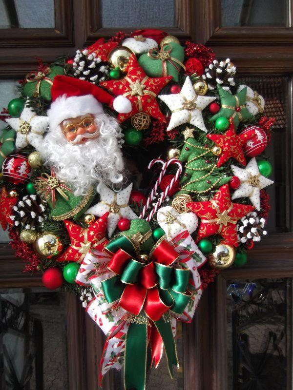 weihnachtskranz santa rot gr n weiss weihnachtskr nze. Black Bedroom Furniture Sets. Home Design Ideas