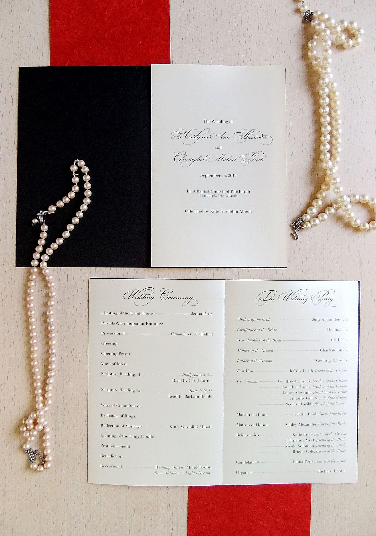 Elegant Wedding Program from Emily Edson Design https
