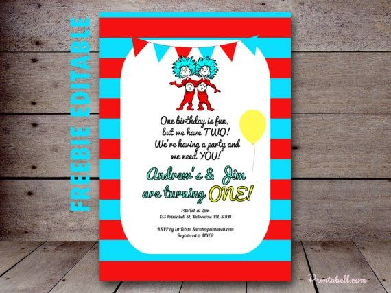 Free Dr Seuss Thing 1 2 Twins Party Printable Baby