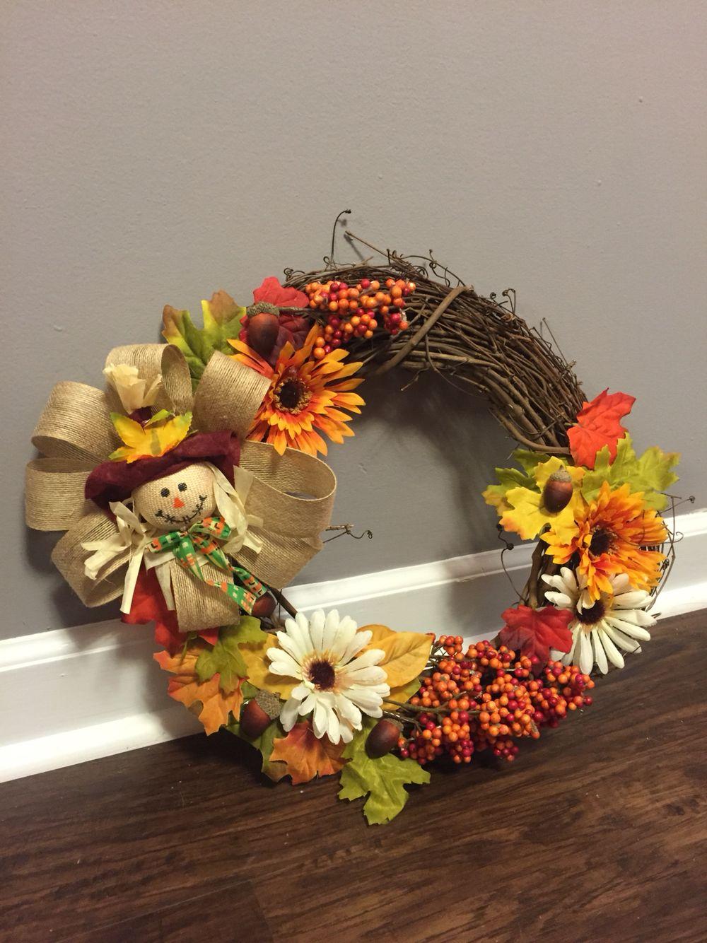 Fall Wreath Dollar Tree Decor Less than 20 Scarecrow