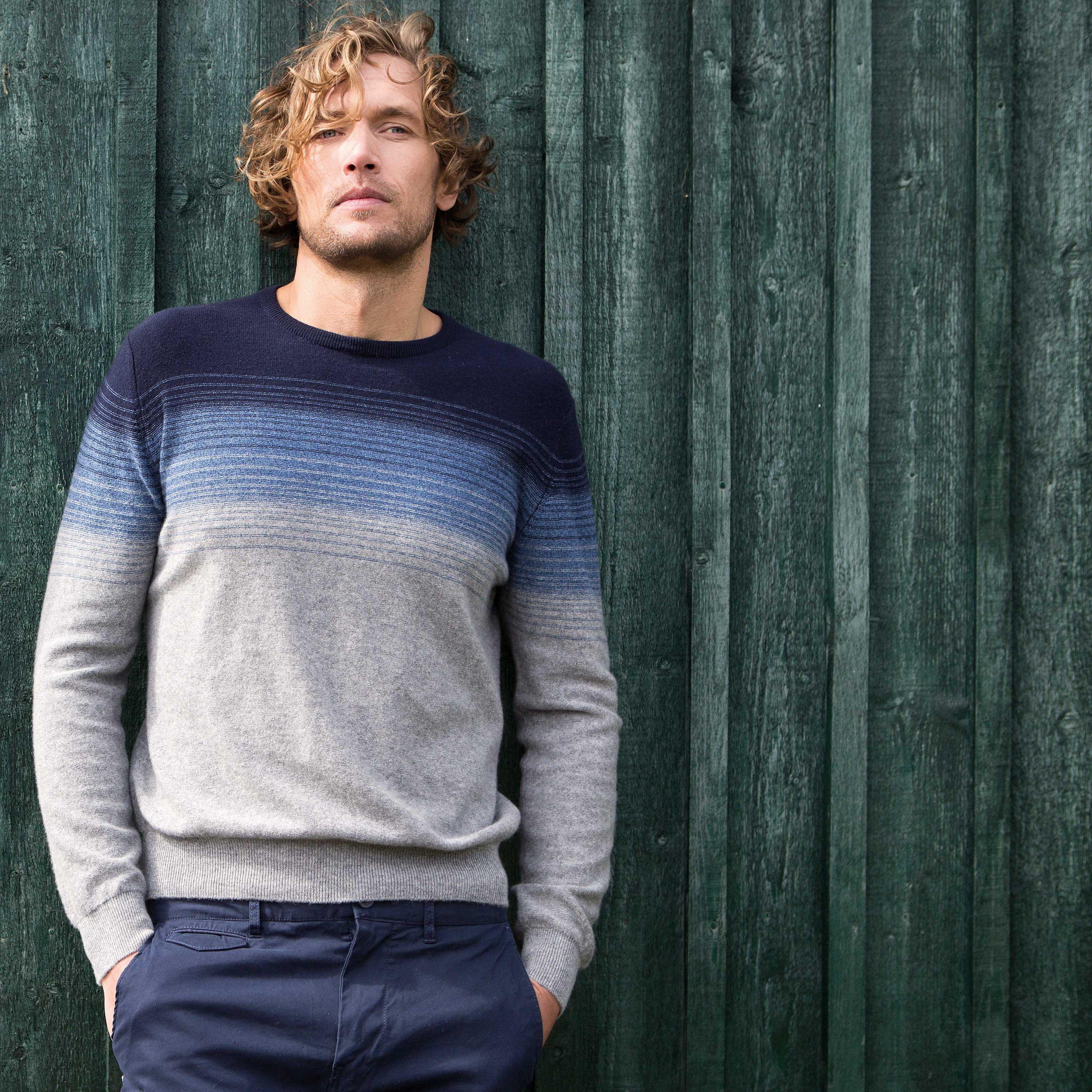Cashmere Ombre Stripe Sweater | All Knitwear | Mens - fine ...