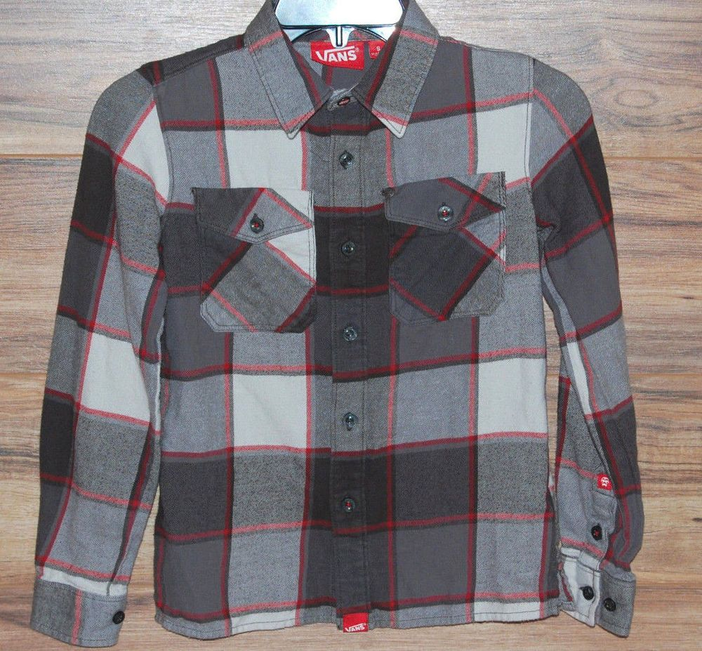 Red plaid flannel jacket  Vans Off the Wall Flannel Shirt Boys Size Small Skate Long Sleeve