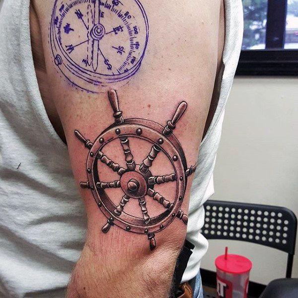 3d Ship Wheel Nautical Upper Arm Tattoos For Men Nautical Tattoo Tattoos Tattoos For Guys