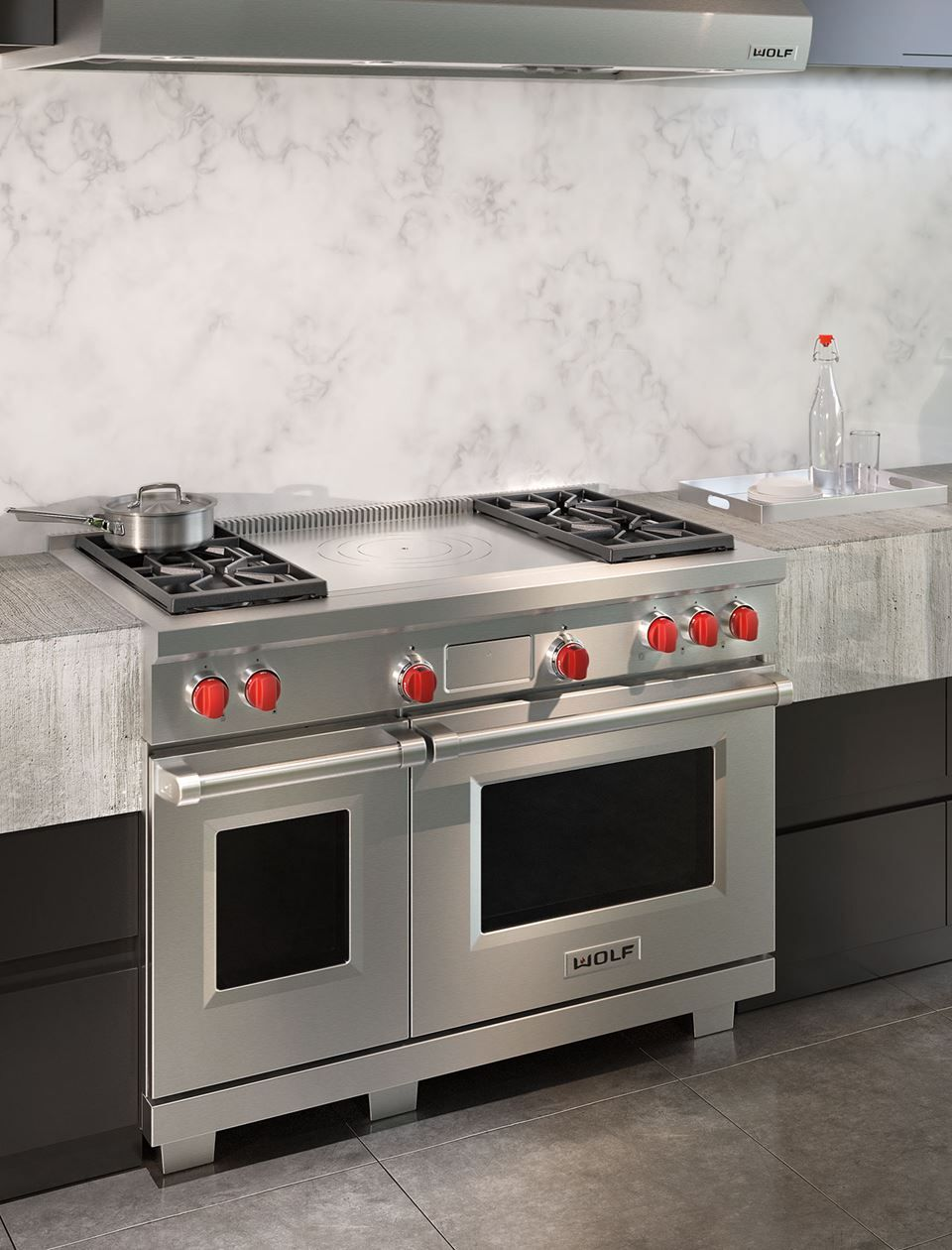 48 Dual Fuel Range 4 Burners And French Top French Top Kitchen Style Dual Fuel Ranges