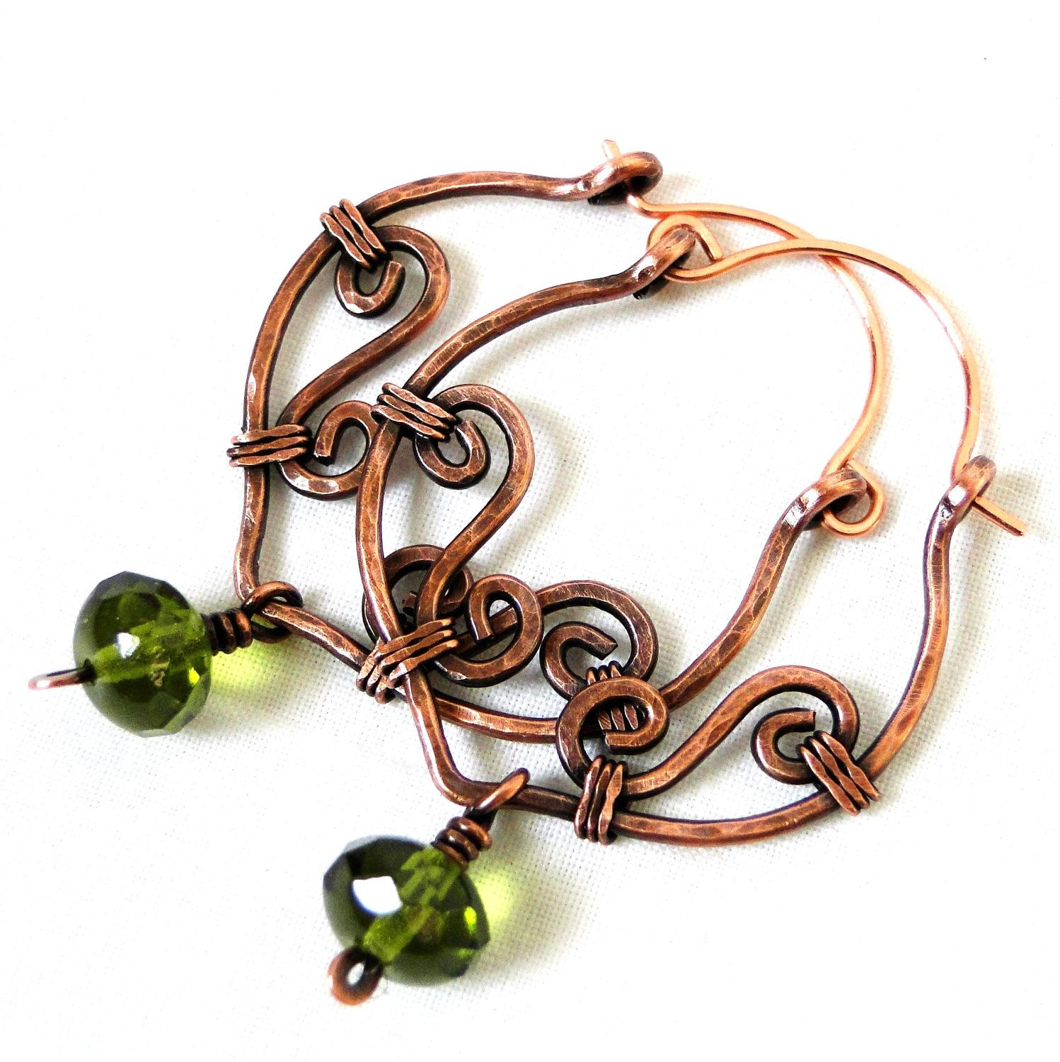 Hoop Earrings, Antiqued Copper Jewelry, Grassy Green Glass, Wire ...