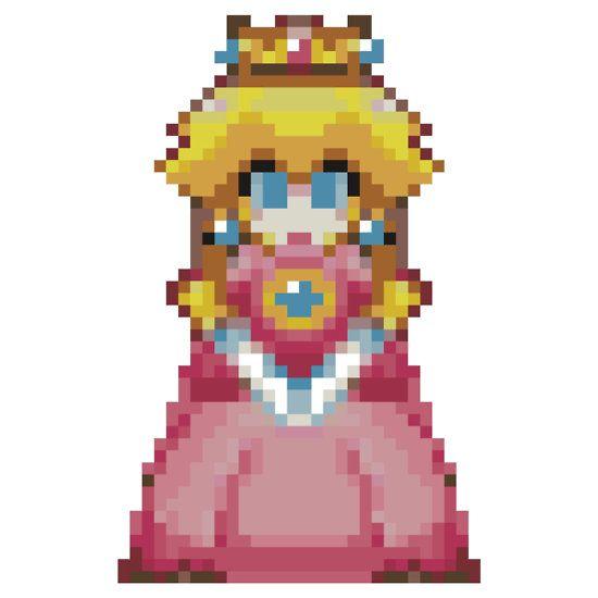 Pixel Peach 32 Bit Sticker Peach Art Memes Super Mario