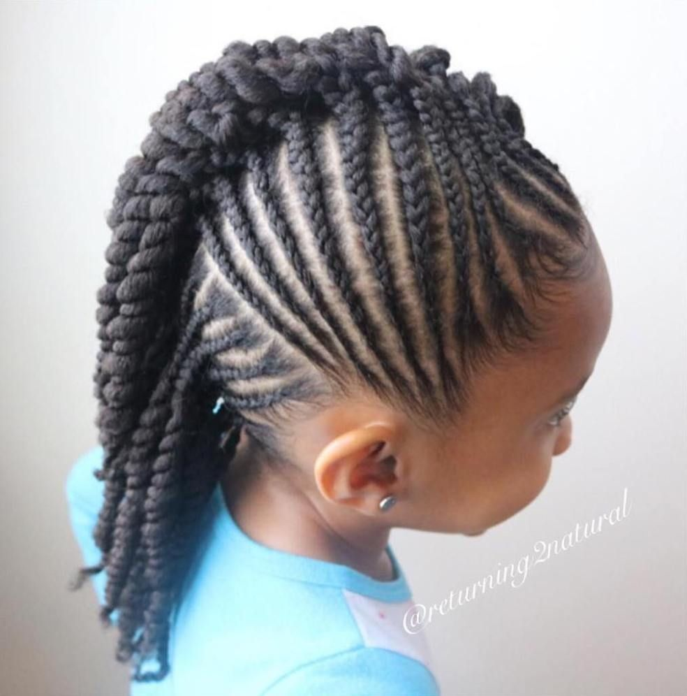 Girls mohawk with cornrows and twists fashion in pinterest