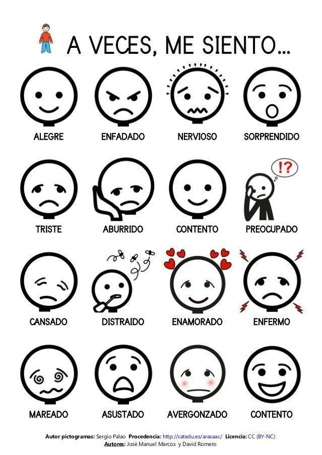 Pictogramas emociones  Emociones pictogramas #learningspanish