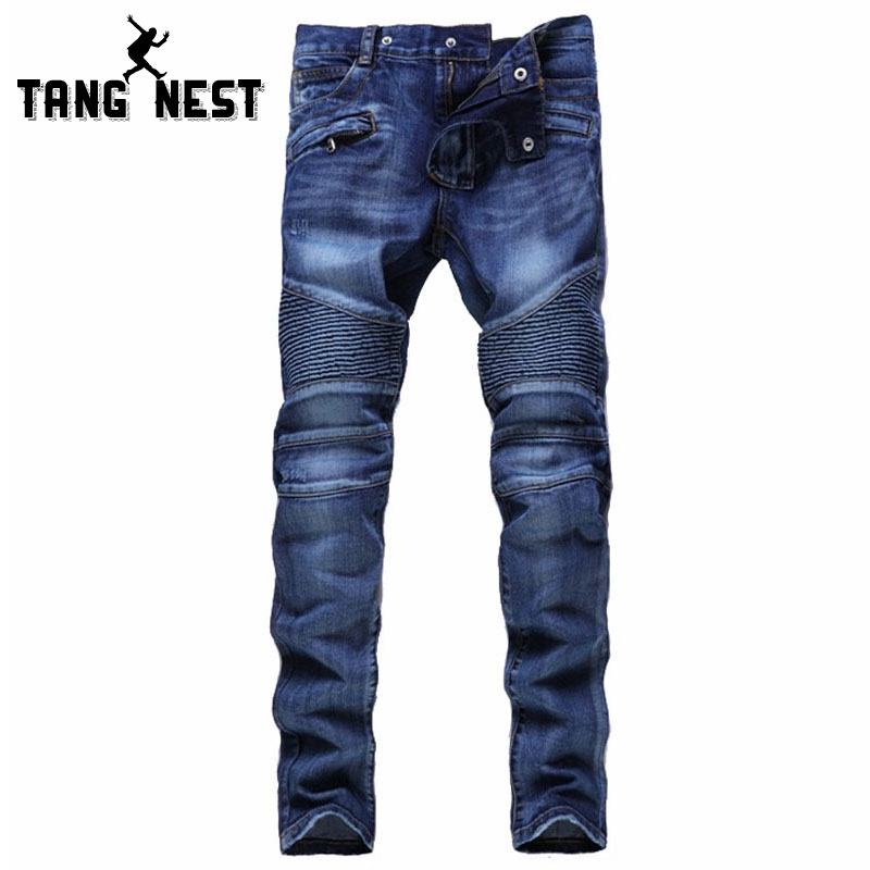 (33.89$)  Watch now  - Hot Sale 2017 Folds Hole Locomotive Men's Jeans New Arrival Fashion Design Biker Jeans Solid Color Straight Jeans Homme MKN661