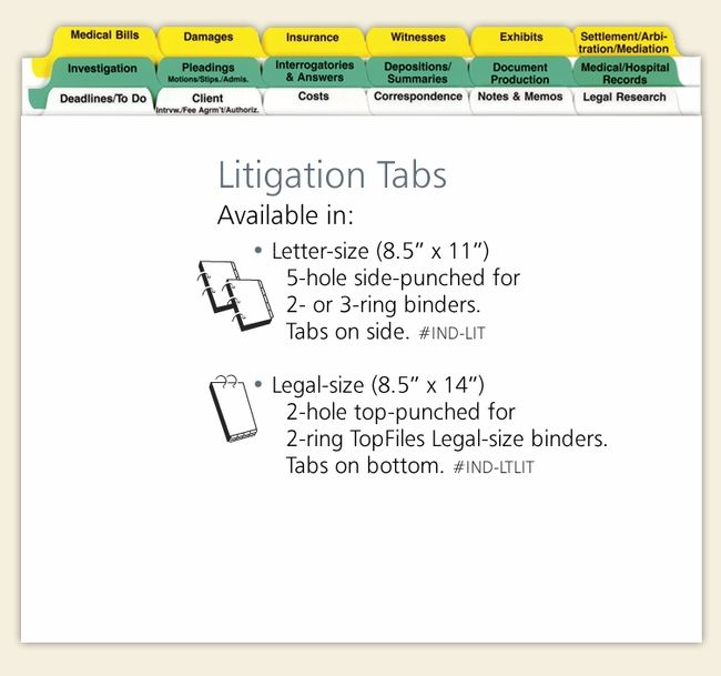 Litigation Index Tab Dividers Set Case Study Template Legal Services Litigation