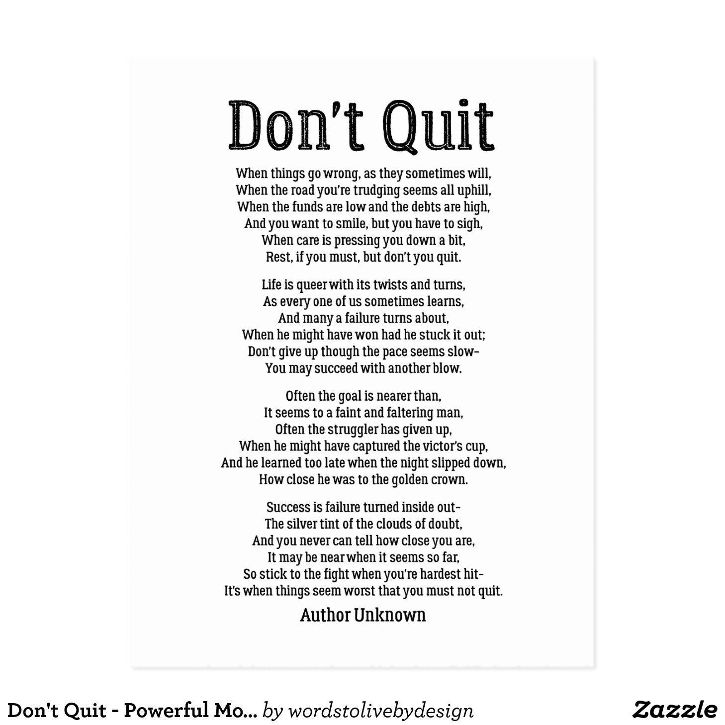 Don't Quit - Powerful Motivational Poem Postcard