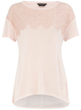 pale pink lace tee : dorothy perkins