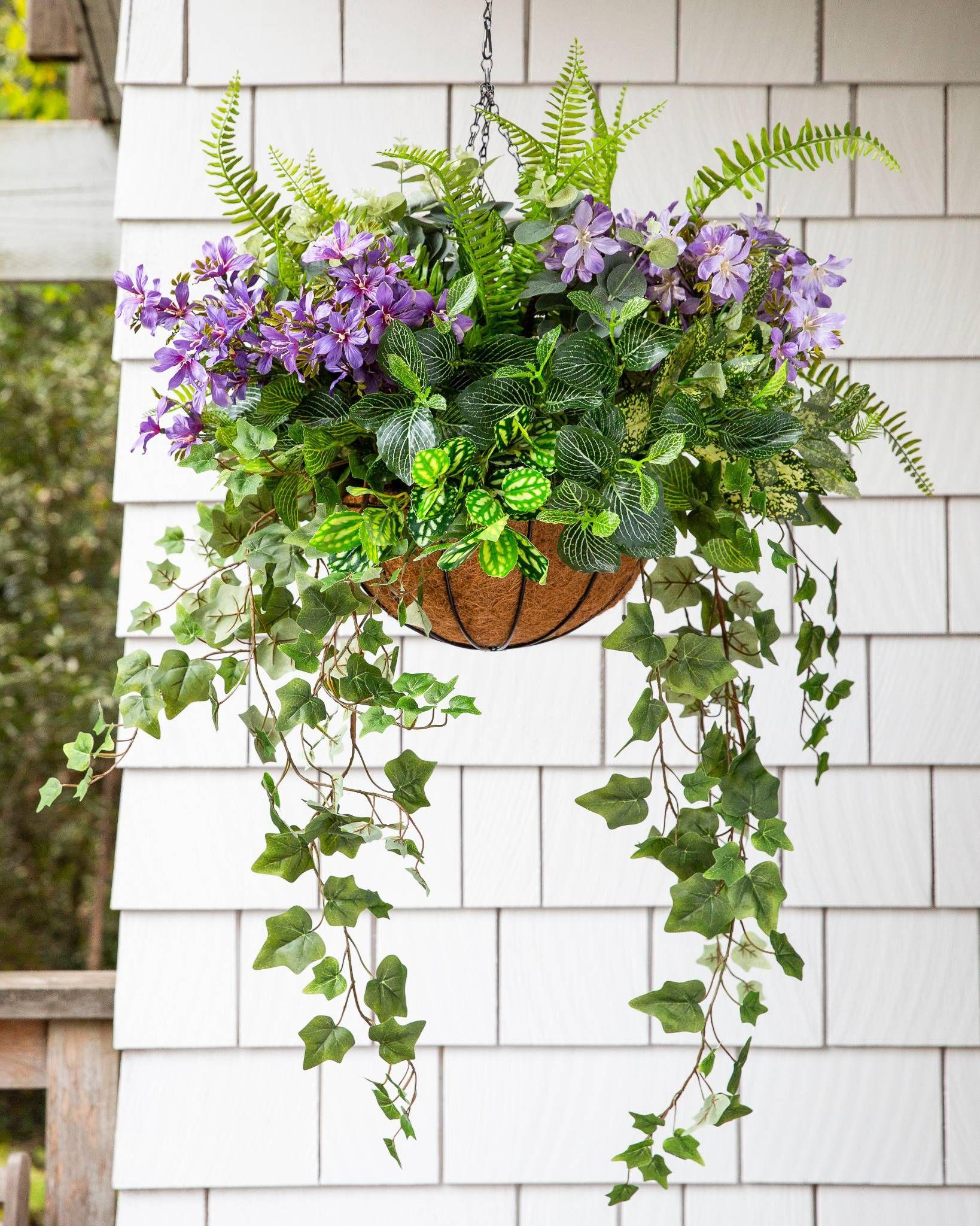 Floral Fern Hanging Basket Balsam Hill Hanging Garden Hanging