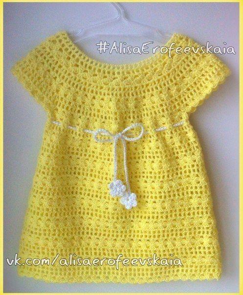 платье для ьалышки вязанное крючком с круглой кокеткой Dress