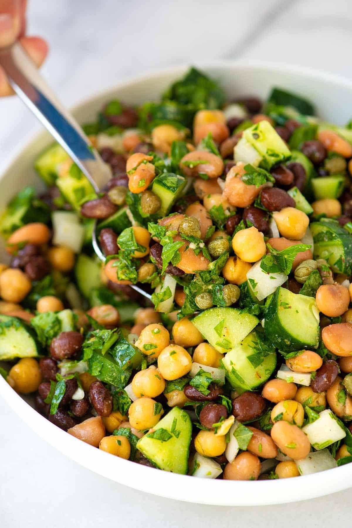 Ridiculously Easy Bean Salad Recipe In 2020 Bean Salad Vegan Bean Salad Salmon Recipes Baked Easy