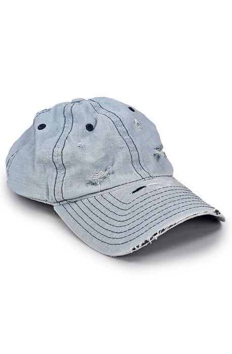Enslaved Hat Ripped Bleached Denim Strapback Light Blue Bleached Denim Hats For Men Hats