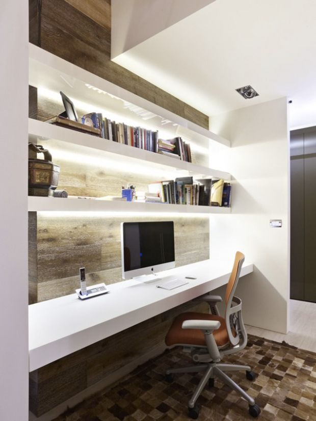 A Long Desk With Shelves Like This Would Make A Great Space For Kids To Do  Homework. Feature Wall Carried Through Behind Floating Shelves.