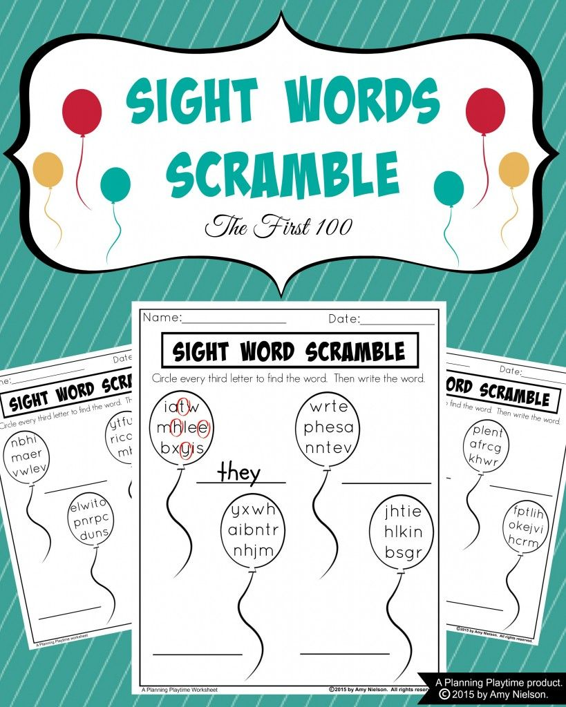 Sight Words Scramble Worksheets Scramble words, Sight
