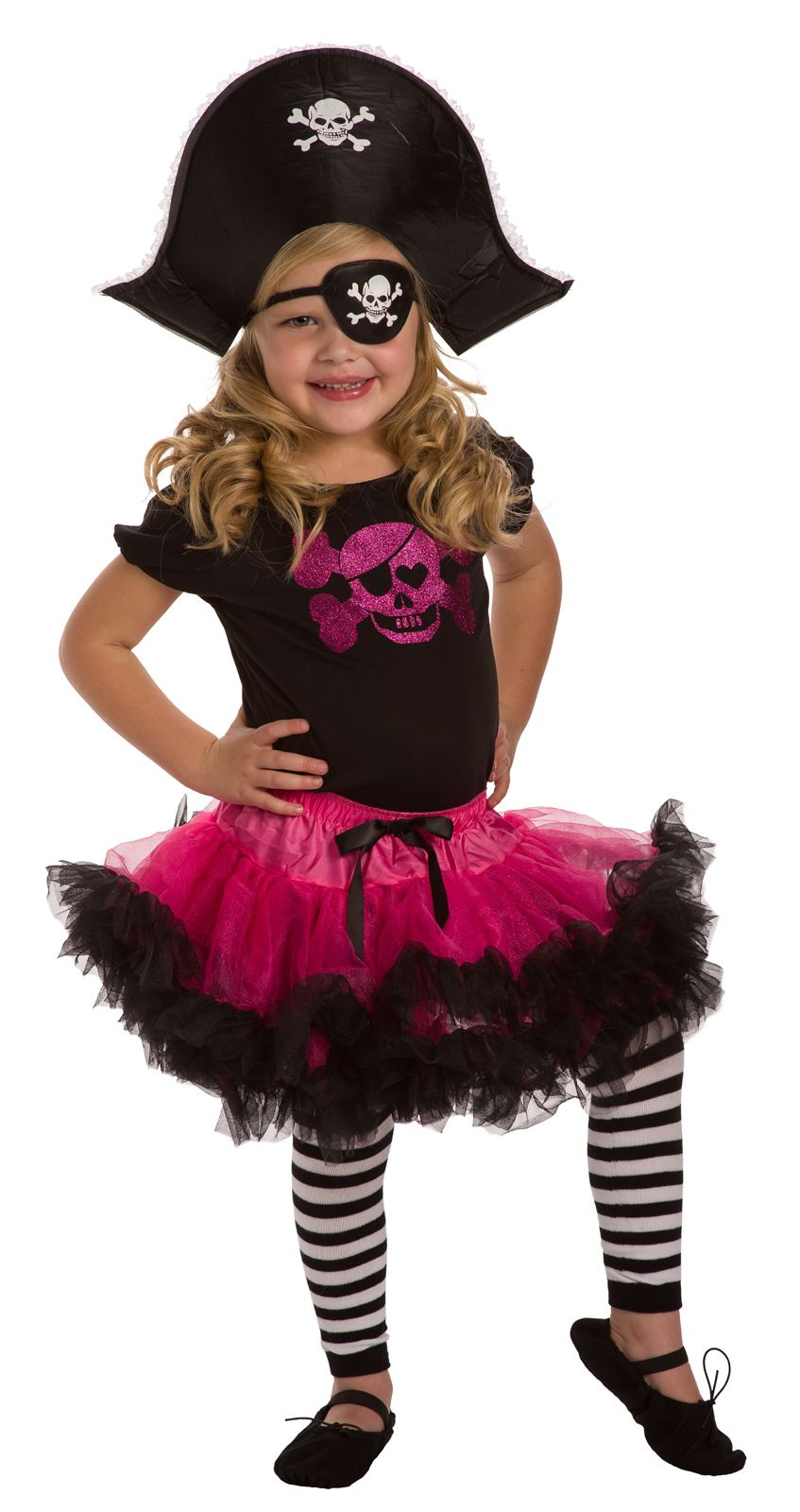 Girl's Pirate Tutu Ensemble-Ay Matey! Thar be a Perty Pirate Tutu Ensemble for school, play, dance or dress up! #pirates #DressUp #pretend www.littledressupshop.com #diypiratecostumeforkids