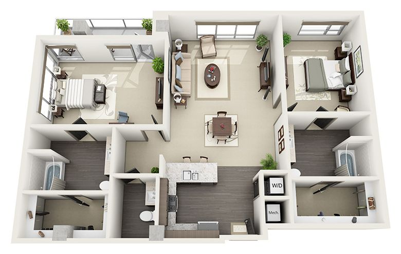 Spacious Floor Plans Luxury Apartments In Hollywood 1600 Vine My House Plans Model House Plan Apartment Floor Plans