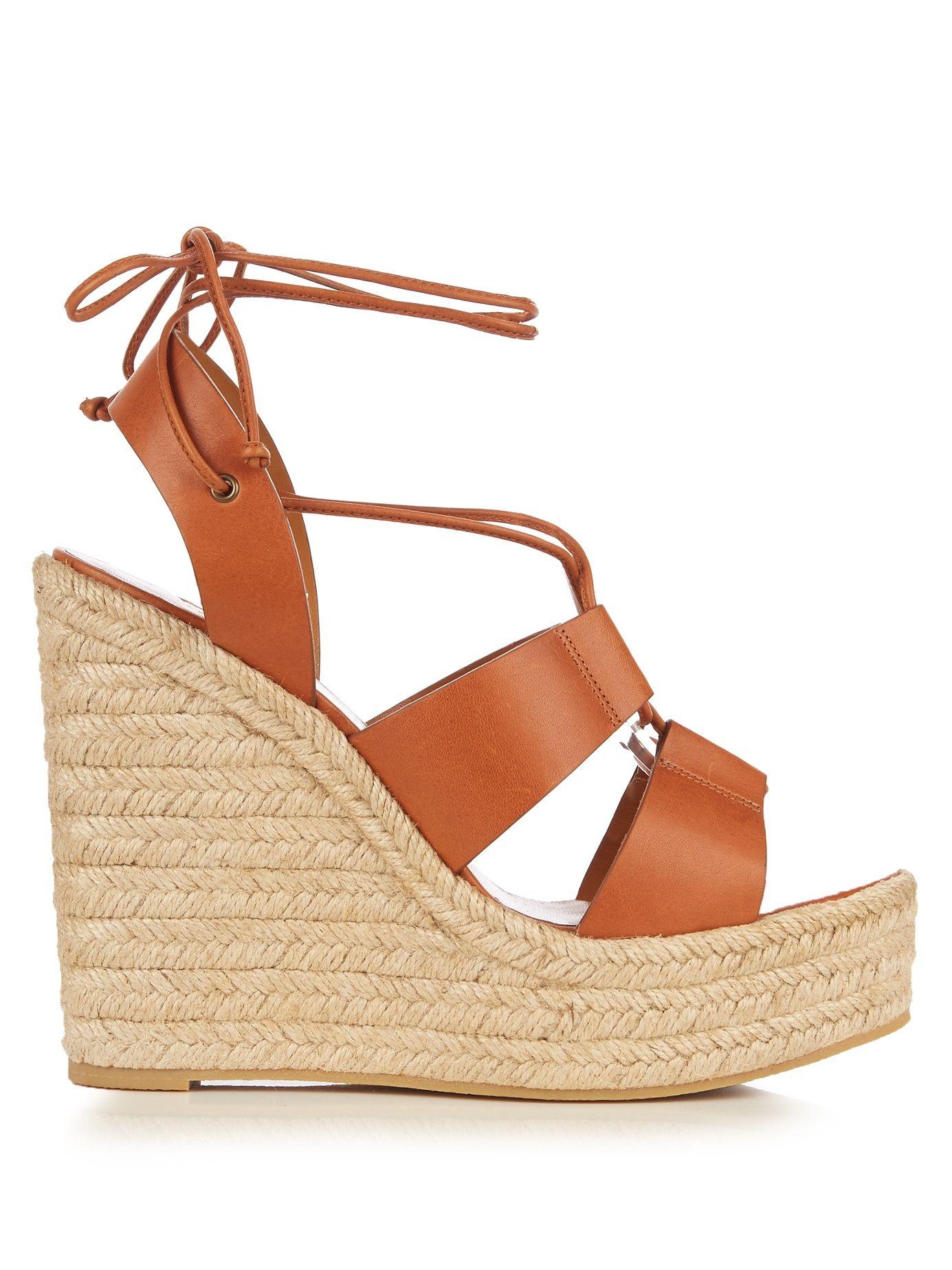 25c4be7f593 Lace-up espadrille leather wedge sandals | Saint Laurent ...