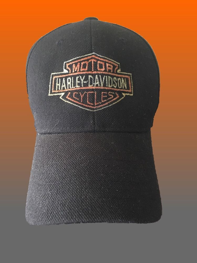 Harley Davidson H-D Embroidered Bar   Shield Baseball Cap Hat Strapback  Black  1bf607cd3466