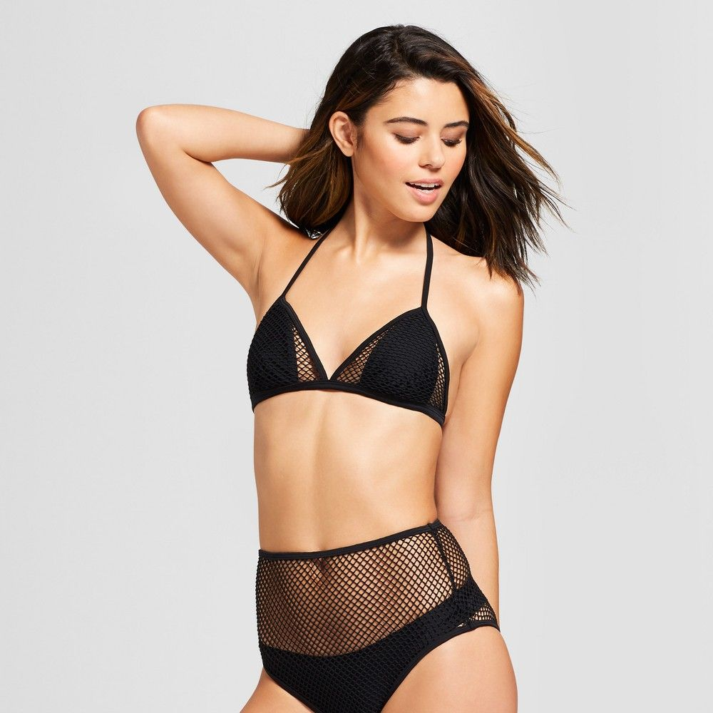 Women's Mesh Triangle Bikini Top - Xhilaration Black XL