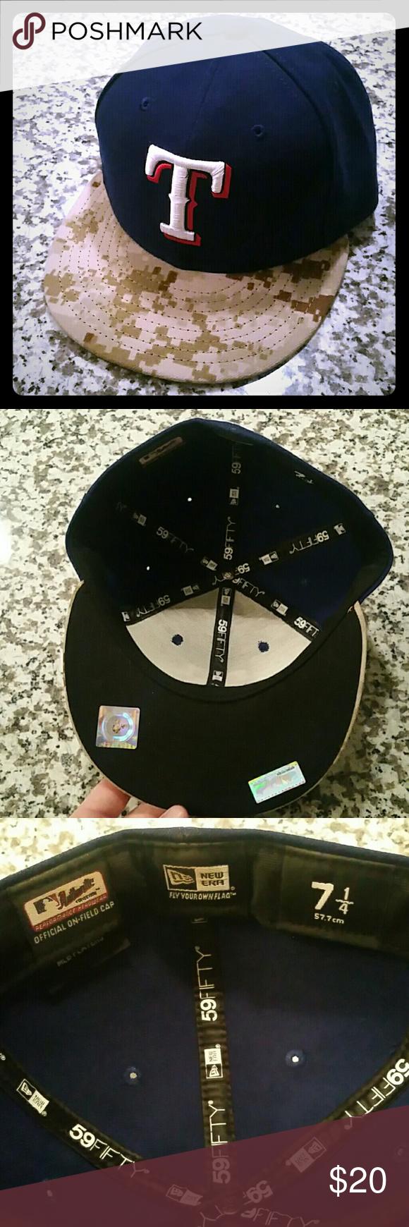 Nwot Texas Rangers 7 1 4 Fitted Camo Hat Camo Hats Texas Rangers Camo