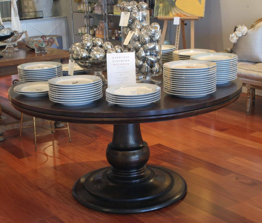 60 Inch Round Ash Pedestal Table Which Can Be Made With Leaves