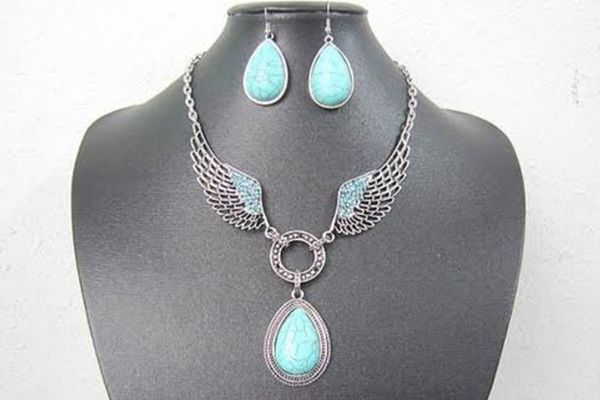 Vintage Bohemian Blue Turquoise Necklace and Earring Set    African Beads Jewelry Set    77% OFF