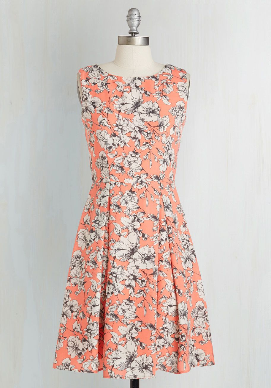 Garden Party Panache in Melon. Throw a fete amongst the flowers and match their blooming brilliance in this melon-orange dress! #coral #modcloth