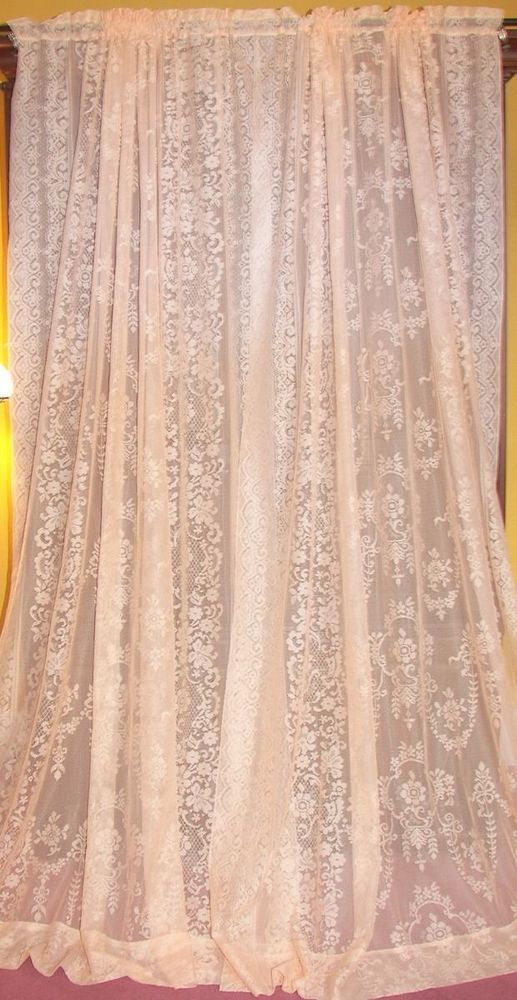 Vintage Neo Classical Victorian Baroque Coral Net Floral Lace Drapes Curtains 3
