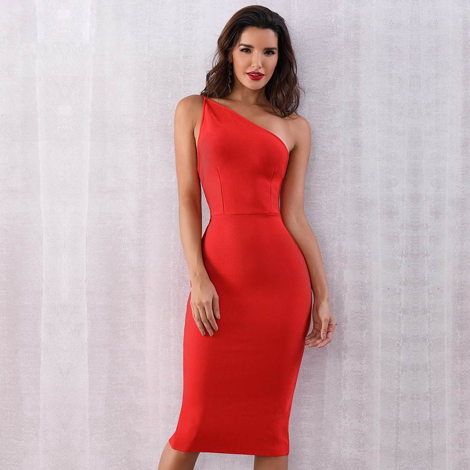 One Shoulder Backless Zipper Closure Bodycon Dress In 2021 Red Bandage Dress Red Cocktail Dress Classy Dress [ 950 x 950 Pixel ]