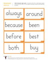 2nd grade sight words flash cards