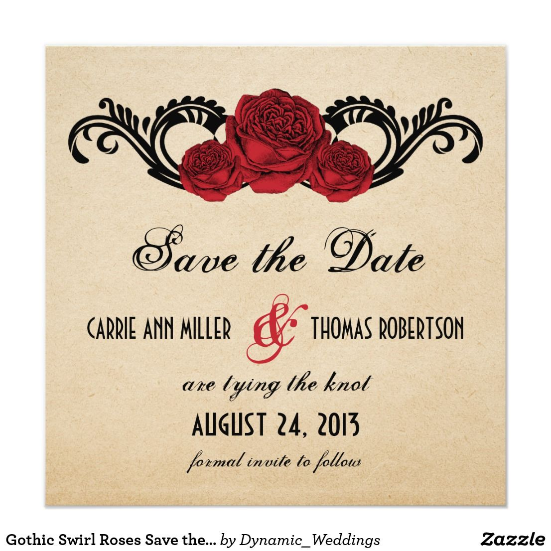 Gothic Swirl Roses Save the Date Invite, Red | wedding invitations ...