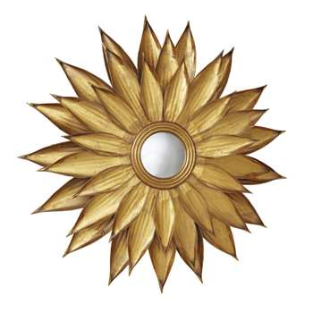 MONIKA Round Convex Mirror with Gold Metal Leaves (H86 x