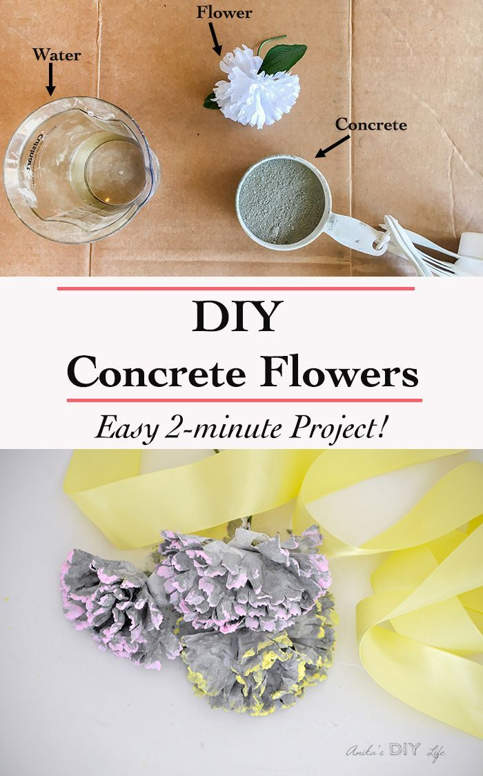 Diy Concrete Flowers Easy 2 Minute Project Concrete Diy Cool Diy Projects Diy Furniture On A Budget