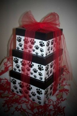 Purrfect #Kitty #Cat Shower Tower #Gift by Purrfectly Rebarkable #Pets Shower a new kitten or adopted small breed cat with lots of love by giving this amazing nested box tower of treats and toys! Loads of toys and treats hide inside the adorable paw print packaging! This makes a wonderful new kitten shower gift or kitty birthday gift as well!