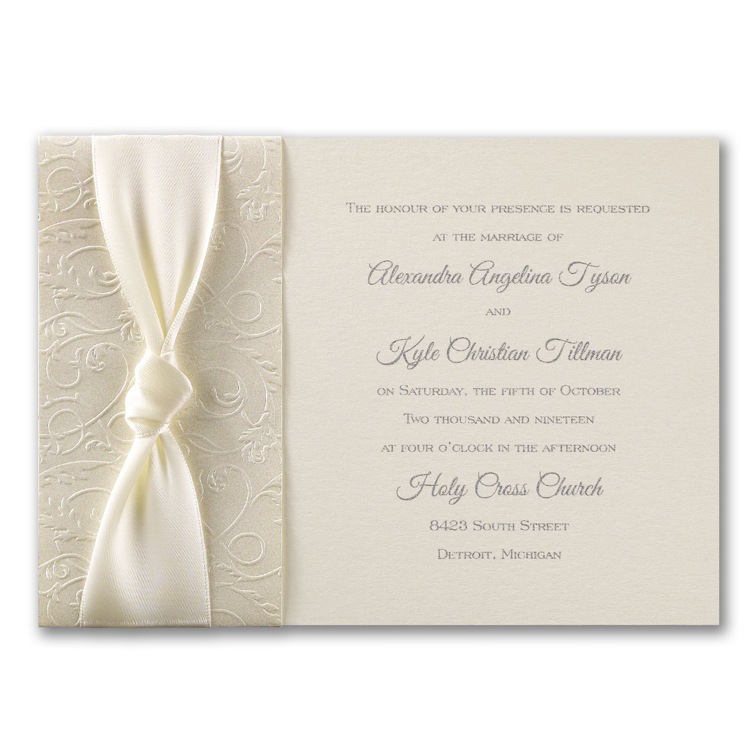 blank wedding invitations%0A A band of embossed ecru shimmer paper and a wide satin ribbon add rich  beauty to this wedding invitation