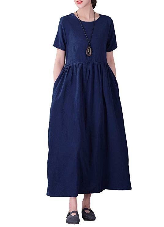 39e4c62ae6 YUHEYUHE Women's Casual Loose Long Soft Tunics Summer Cotton Linen Maxi  Dresses Two Pockets