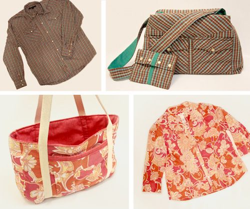 Button down shirt to bag - excellent tutorials!! I love the floral bag She used a PXL for this but does give measurements for bag pieces.