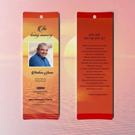 Memorial Bookmark Template Funeral Bookmark Microsoft Word Etsy Funeral Program Template Bookmark Template Photoshop Template