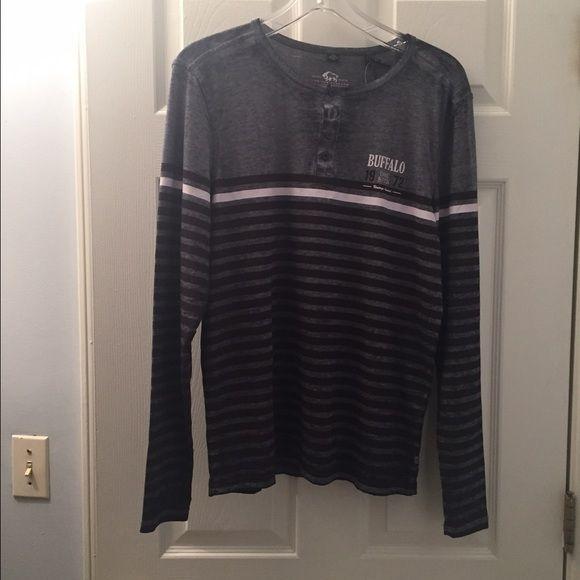 Buffalo David Bitton Men's Top 52% Cotton 48% Polyester Buffalo Shirts Tees - Long Sleeve
