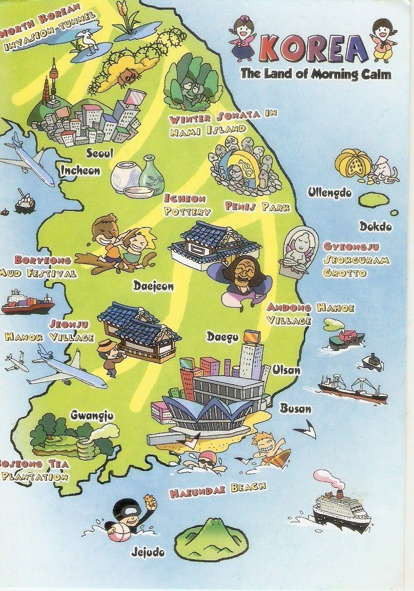 Sydkorea Geografiske Kort Over Sydkorea Korea Coreia Do Sul