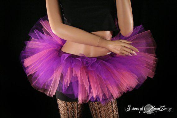 NUOBESTY Girls Women Tutu Skirt Light Up LED Tutu Skirt Tulle Ballet Skirt Dress for Adult Costume Party Dance Violet
