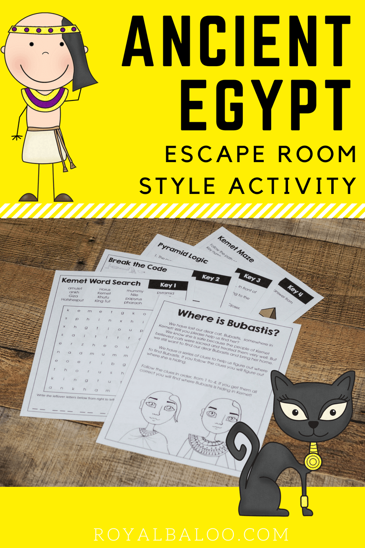 Help us find our, cat, Bubastis with this Ancient Egypt (Kemet) activity! It's an escape room style
