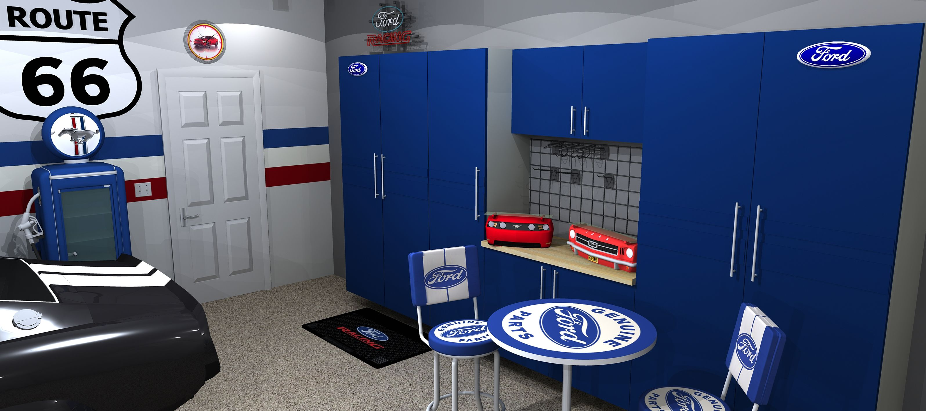 Custom ford branded cabinetry and flooring www for Garage ford annecy 74