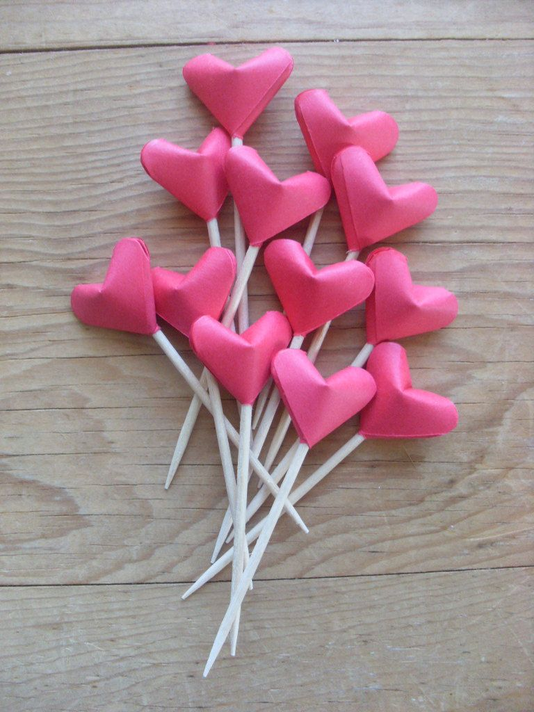 Photo of Items similar to Party Picks or Cupcake Toppers, Red Origami Hearts, set of 12. Valentine's Day.  Red Hearts. on Etsy