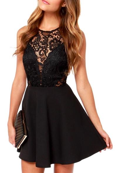 Black Lace Hollow Sleeveless Top A-line Mini Dress | Fit flare dress ...