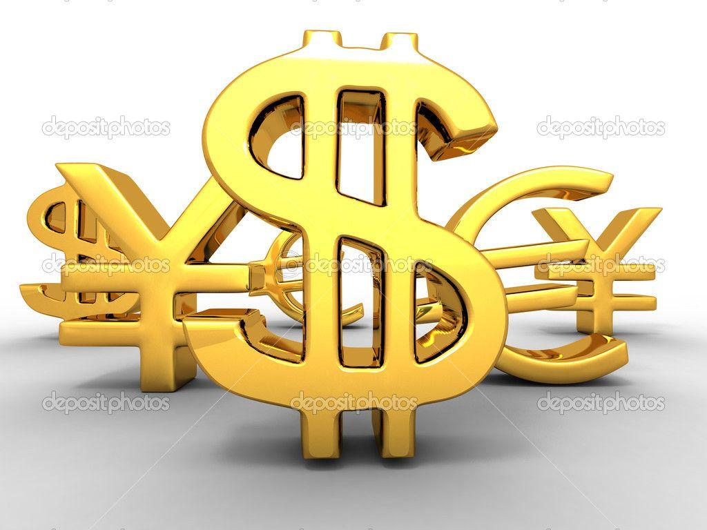 Yen, El Dólar, El Euro. Signos. 3D